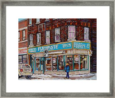 Boutique Fleuriste Coin Vert Montreal Framed Print by Carole Spandau