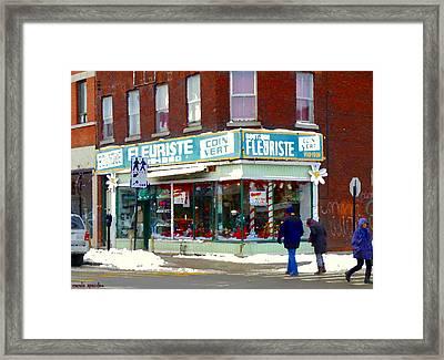 Boutique Fleuriste Coin Vert Montreal Florist St Henri Rue Notre Dame Urban Scenes Carole Spandau Framed Print