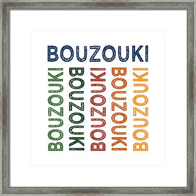 Bouzouki Cute Colorful Framed Print by Flo Karp