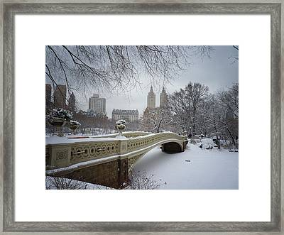 Bow Bridge Central Park In Winter  Framed Print
