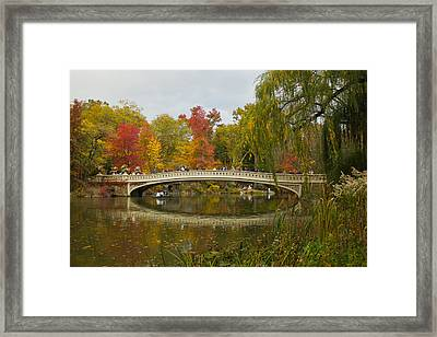 Framed Print featuring the photograph Bow Bridge Central Park Ny by Jose Oquendo