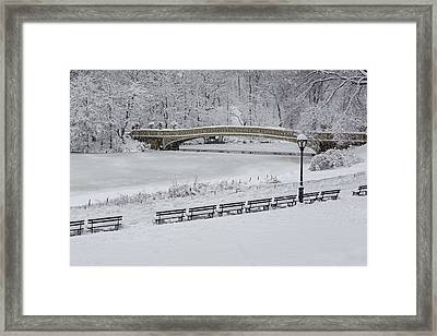 Bow Bridge Central Park Winter Wonderland Framed Print