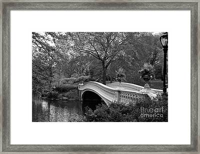 Bow Bridge Nyc In Black And White Framed Print