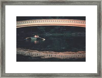 Bow Bridge Rowboat Central Park Framed Print by Tom Wurl