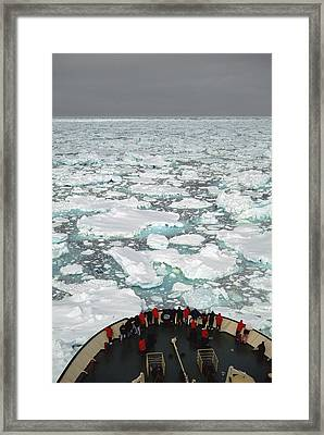 Bow Of Russian Icebreaker Ross Sea Framed Print by Tui De Roy