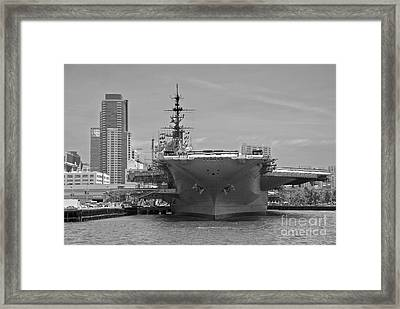 Bow Of The Uss Midway Museum Cv 41 Aircraft Carrier - Black And White Framed Print by Claudia Ellis