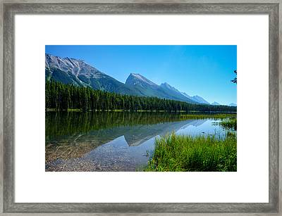 Bow River And Mountain Range Alberta Framed Print