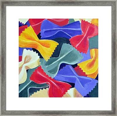 Bow Ties Pasta  Framed Print by Toni Silber-Delerive