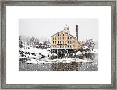 Bowdoin Mill In Heavy Snow Framed Print by Benjamin Williamson
