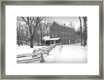 Bowen's Mill In Winter Framed Print by Randall Nyhof