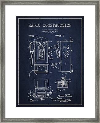 Bowers Radio Patent Drawing From 1959 - Navy Blue Framed Print