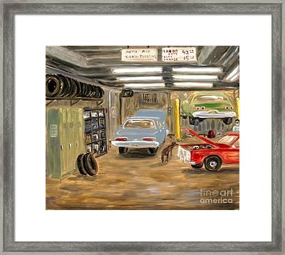 Bowery Garage With Doberman Framed Print