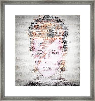 Bowie Typo Framed Print by Taylan Apukovska