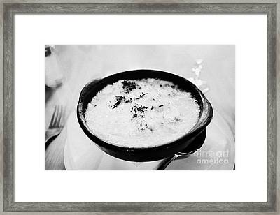 bowl of baked king crab chowder chupe de centollo inside la luna restaurant Punta Arenas Chile Framed Print by Joe Fox