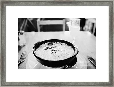 bowl of baked king crab chowder chupe de centollo with pisco sour inside la luna restaurant Punta Arenas Chile Framed Print by Joe Fox