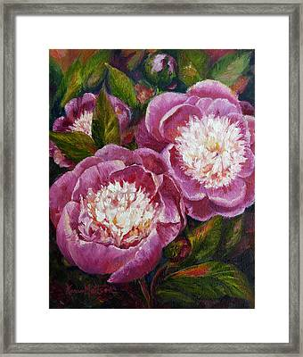 Bowl Of Beauty Peony Framed Print by Karen Mattson