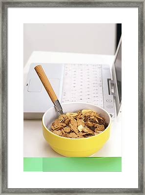 Bowl Of Cereal Framed Print by Science Photo Library