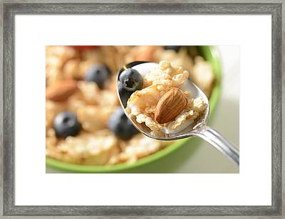 Bowl Of Cereal With Bluberries And Almonds On Spoon Framed Print