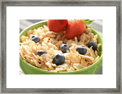 Bowl Of Cereal With Blueberries And Strawberries Framed Print