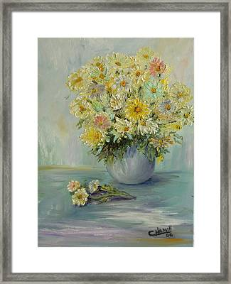 Framed Print featuring the painting Bowl Of Daisies by Catherine Hamill