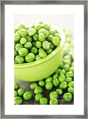 Bowl Of Green Peas Framed Print by Elena Elisseeva
