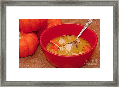 Bowl Of Homemade Chicken Noodle Soup Framed Print