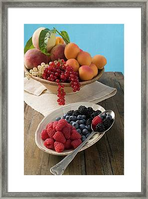 Bowl Of Mixed Fruit And Plate Of Berries Framed Print