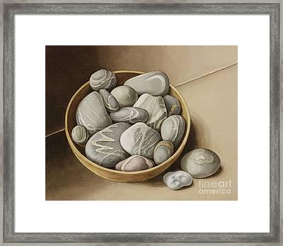 Bowl Of Pebbles Framed Print