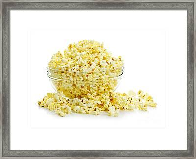 Bowl Of Popcorn Framed Print