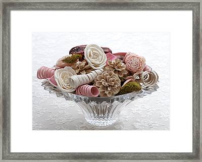 Bowl Of Potpourri On Lace Framed Print
