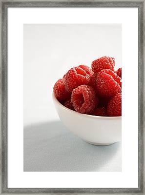 Bowl Of Raspberries Framed Print by Greg Huszar Photography
