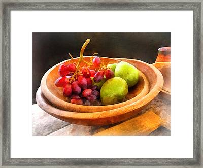 Bowl Of Red Grapes And Pears Framed Print