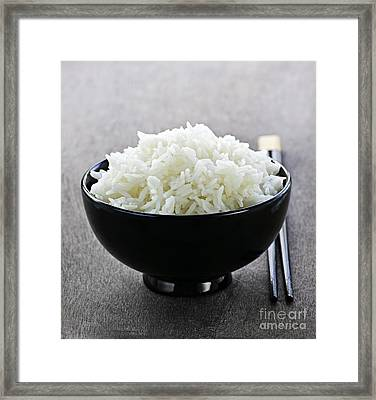 Bowl Of Rice With Chopsticks Framed Print by Elena Elisseeva