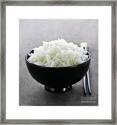 Bowl Of Rice With Chopsticks Framed Print by Elena Elisseeva
