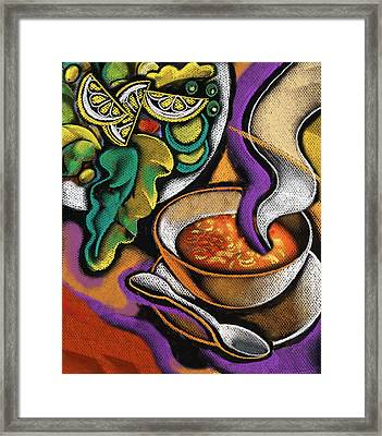 Bowl Of Soup Framed Print by Leon Zernitsky