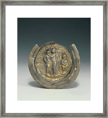 Bowl With A Medallion Depicting Dionysos And Ariadne Framed Print by Litz Collection