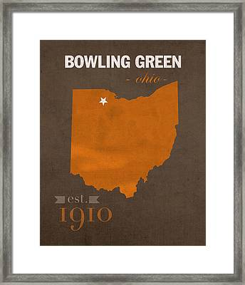 Bowling Green State University Falcons Ohio College Town State Map Poster Series No 021 Framed Print by Design Turnpike