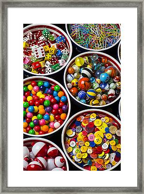 Bowls Of Buttons And Marbles Framed Print by Garry Gay
