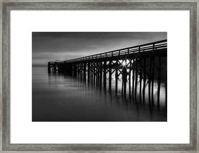 Bowman Bay Pier Sunset- Black And White Framed Print by Mark Kiver