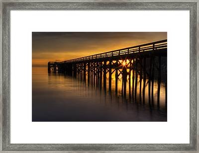 Bowman Bay Pier Sunset Framed Print by Mark Kiver