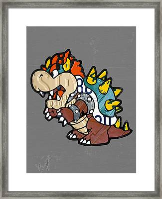 Bowser From Mario Brothers Nintendo Original Vintage Recycled License Plate Art Portrait Framed Print by Design Turnpike