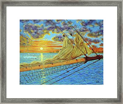 Framed Print featuring the painting Bowsprit Over The Ashley River by Dwain Ray