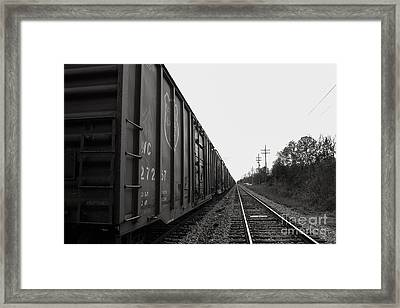 Box Cars And Tracks Framed Print by Russell Christie