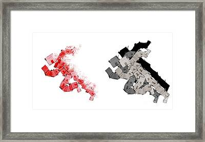 Box Man Winning A Race Framed Print
