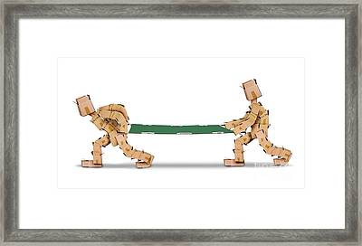 Box Men Carrying A Stretcher Isolated Framed Print