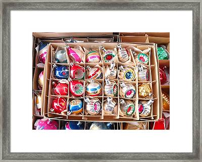 Box Of Vintage Ornaments Framed Print by Mark Barclay