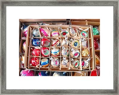 Box Of Vintage Ornaments Framed Print