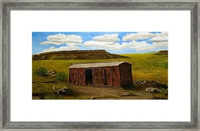 Boxcar On The Plains Framed Print by Sheri Keith