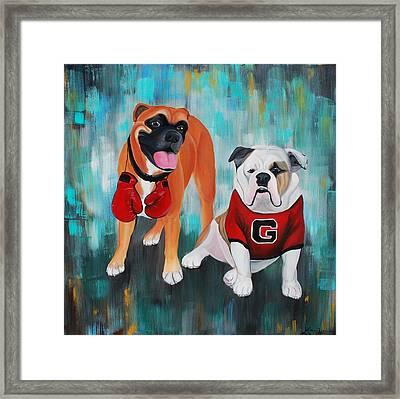 Boxer And Bulldog Portrait Framed Print by Lauren Hammack