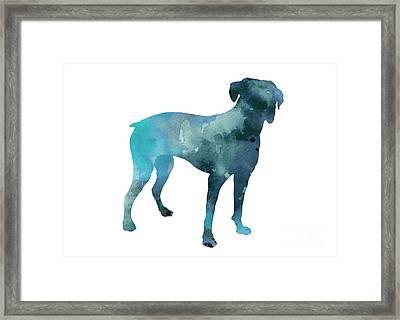 Boxer Art Silhouette Turquoise Print Framed Print by Joanna Szmerdt